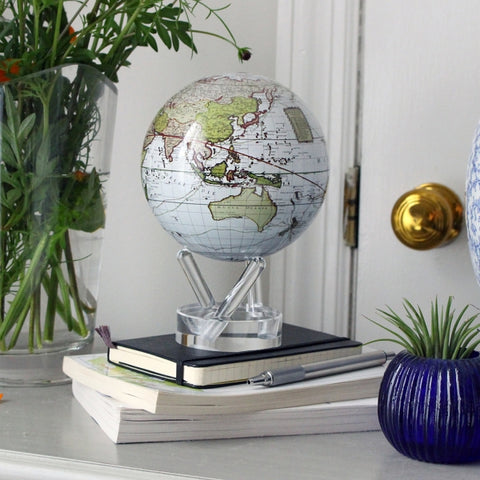 "6"" Mova Globe Antique Cassini (Terrestrial White) - Seaton Gifts"