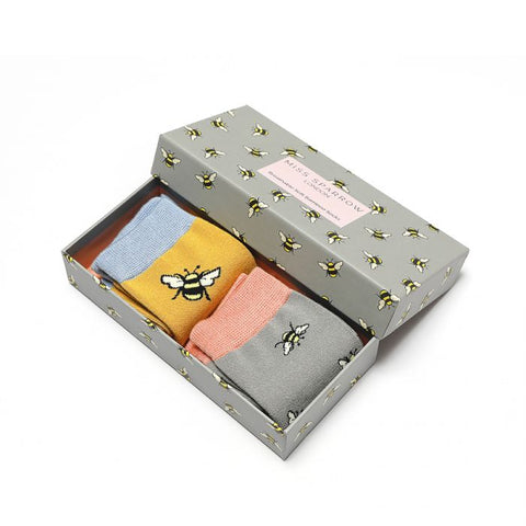 Miss Sparrow Bamboo Socks Gift Set -  Bumble Bee Scattered