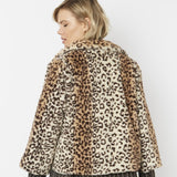 Leopard Print Cropped Faux Fur Jacket