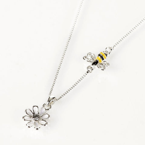 Silver Plated Bee and Flower Handpainted Necklace