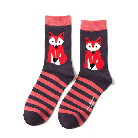 Miss Sparrow Fox & Stripes Socks Navy