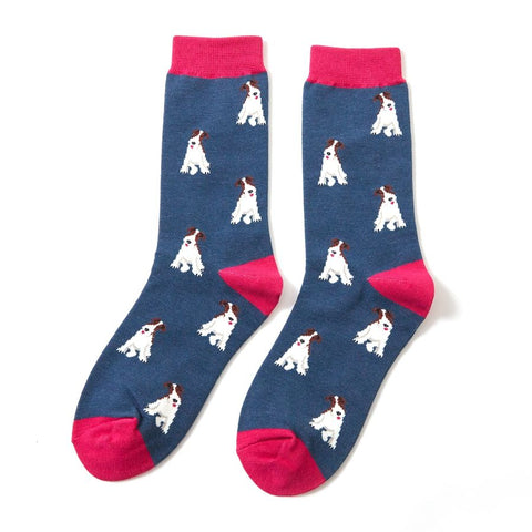 Miss Sparrow Fox Terrier Socks Navy