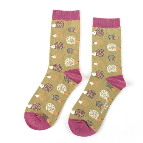 Miss Sparrow Hedgehogs Socks Olive