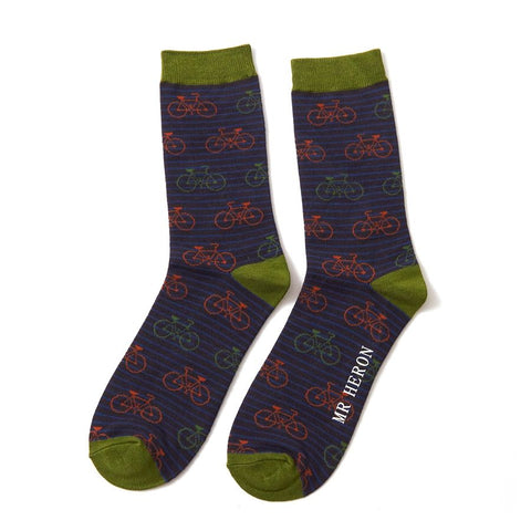 Mr Heron Bikes & Stripes Socks Black