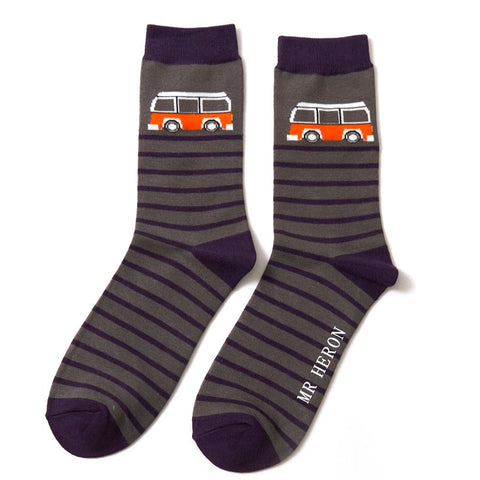 Mr Heron Camper Stripe Socks Grey