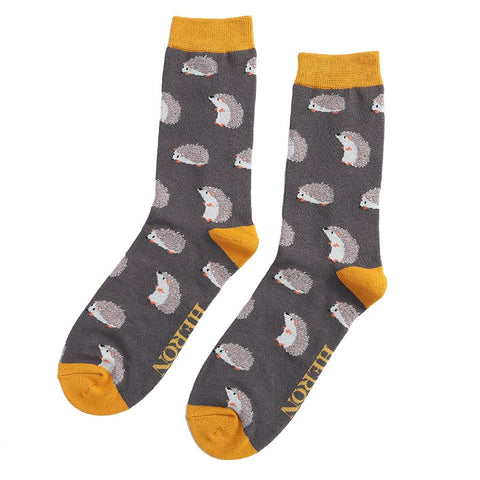 Mr Heron Cute Hedgehogs Socks Grey