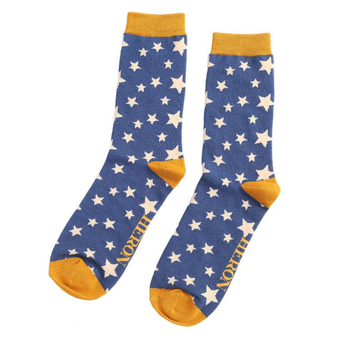 Mr Heron Stars Socks Navy