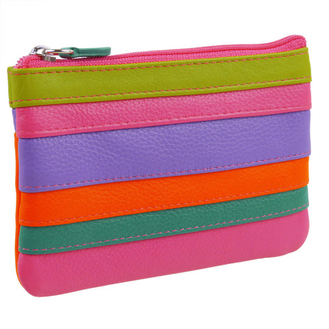Colurful Leather Coin Purse with RFID Blocking