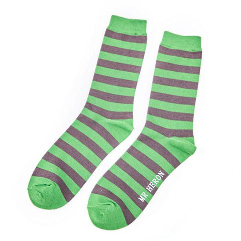 Mr Heron Green Socks Grey Stripes