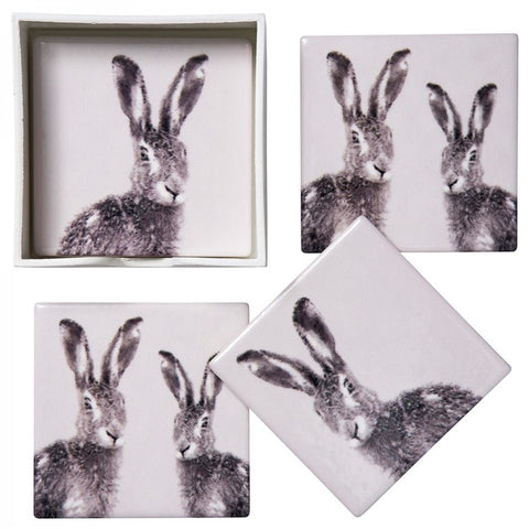 Hare Coasters - Ceramic Set of 4 - Seaton Gifts