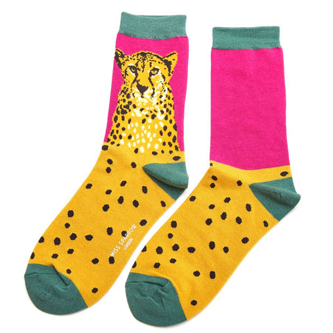Miss Sparrow Wild Cheetah Socks Hot Pink