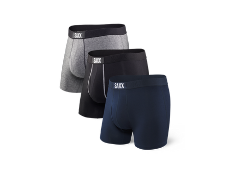 "SAXX Vibe Boxer Brief 5"" 3 Pack - Black/Heather Grey/Navy"