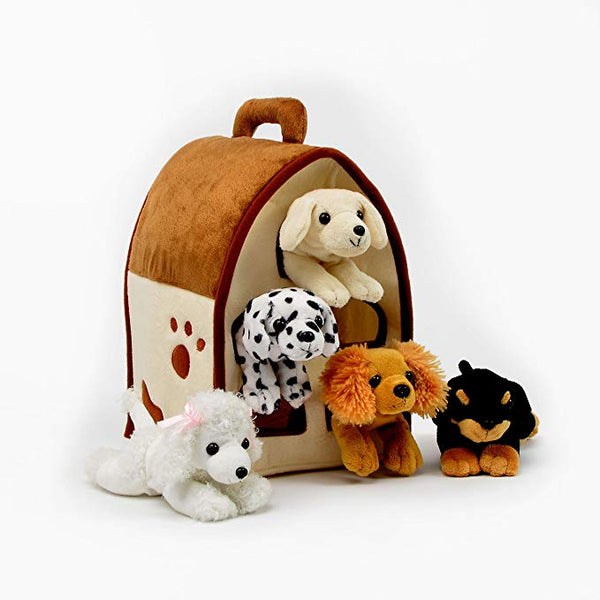 Plush Dog House with Five (5) Stuffed Animal Dogs