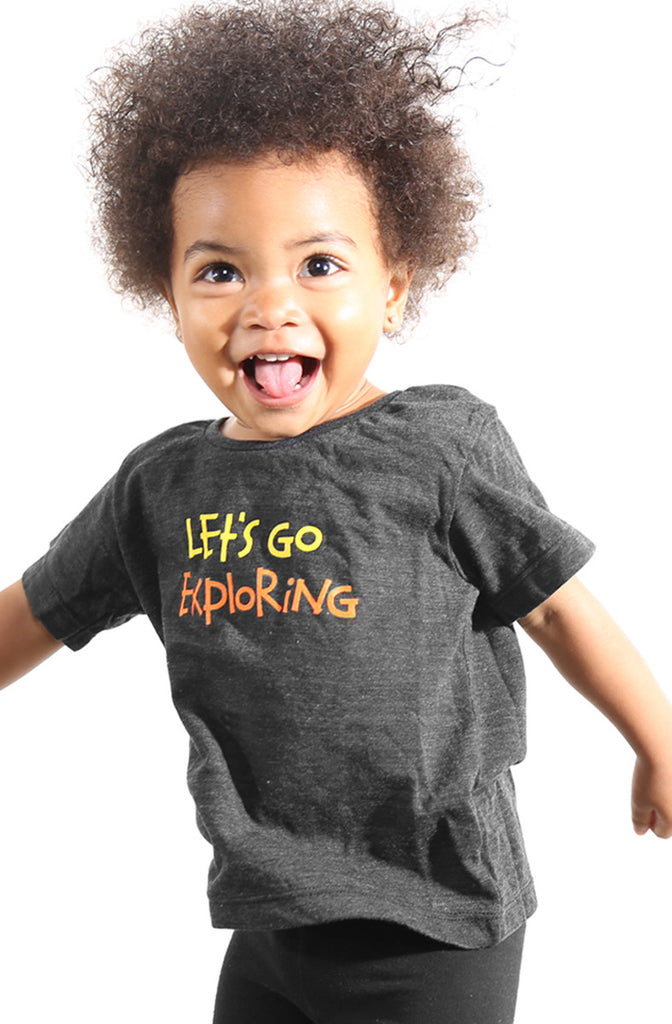 Let's Go Exploring (Baby Black Heather Tee)