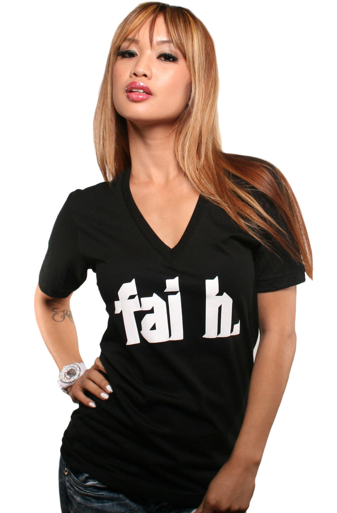 Faith (Women's Black V-Neck)
