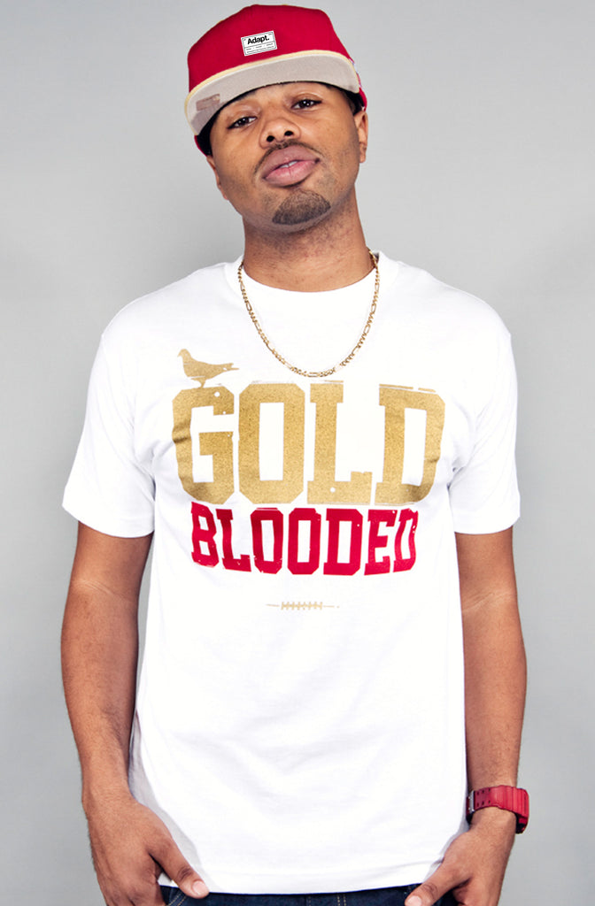 Gold Blooded (Men's White/Red Tee)