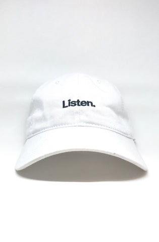 Listen. (White Low Crown Cap)