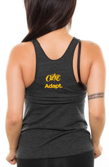 Cukui x Adapt :: Gold Blooded Tribal (Women's Black/Royal Racerback Tank)