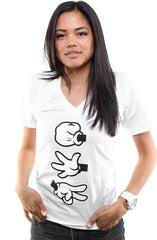 Booger Kids X Adapt :: Rock Paper Cut (Women's White/Black V-Neck)