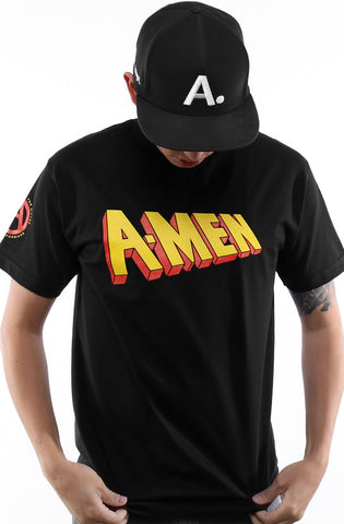 LAST CALL - DJ Amen x Cole Marchetti x Young California x Adapt :: A-Men: First Class (Men's Black Tee)