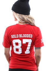 Gold Blooded Legends :: 87 (Women's Red V-Neck)