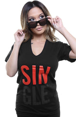 Single (Women's Black V-Neck)