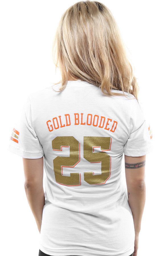Gold Blooded Kings :: 25 (Women's White V-Neck)