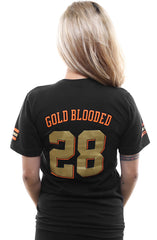 Gold Blooded Kings :: 28 (Women's Black V-Neck)