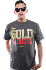GOLD BLOODED Men's Dark Charcoal/Red Tee