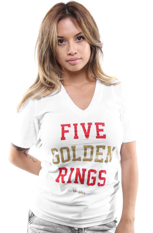 Five Golden Rings (Women's White V-Neck)