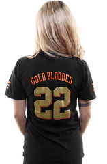 Gold Blooded Kings :: 22 (Women's Black V-Neck)