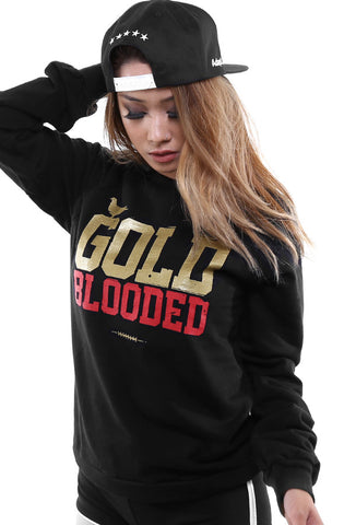 GOLD BLOODED Women's Black/Gold Crewneck Sweatshirt