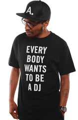 Deltron x Adapt :: Everybody Wants To Be A DJ (Men's Black Tee)