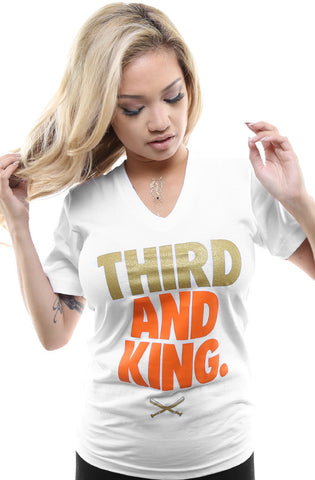 Third and King (Women's White V-Neck)