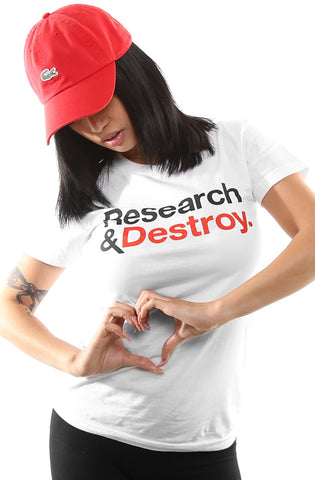 Research & Destroy (Women's White/Red Tee)