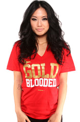GOLD BLOODED Women's Red/Gold V-Neck