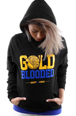 Cukui x Adapt :: Gold Blooded Tribal (Women's Black/Royal Hoody)