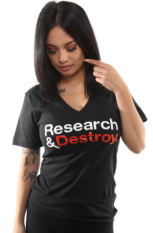 Research & Destroy (Women's Black/Red V-Neck)