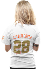 Gold Blooded Kings :: 28 (Women's White V-Neck)