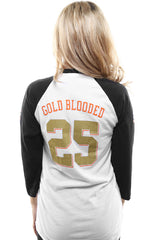 Gold Blooded Kings :: 25 (Women's White/Black Raglan Tee)