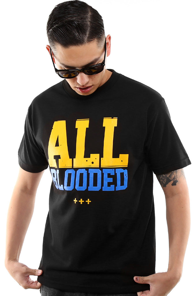 All Blooded (Men's Black/Royal Tee)