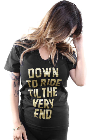 Breezy Excursion X Adapt :: Down To Ride GOLD Edition (Bonnie) (Women's Black V-Neck)