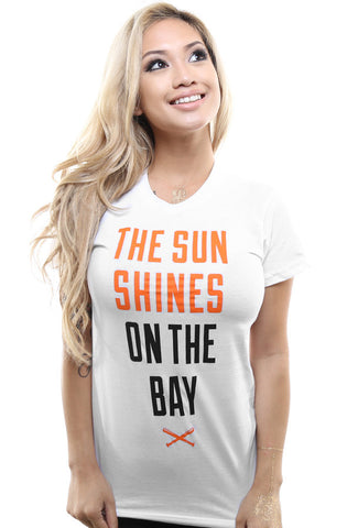 The Sun Shines On The Bay (Women's White/Orange Tee)