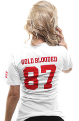 Gold Blooded Legends :: 87 (Women's White V-Neck)