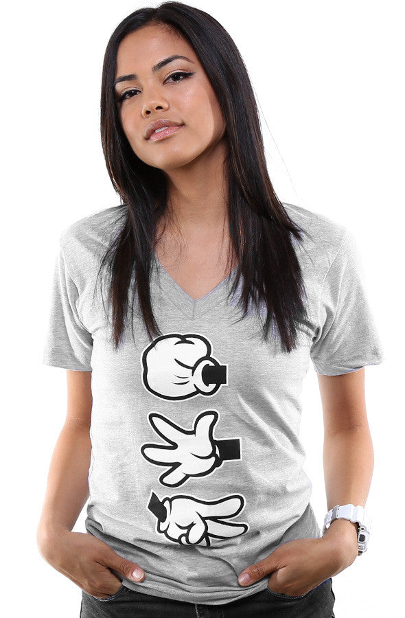 Booger Kids X Adapt :: Rock Paper Cut (Women's Heather V-Neck)