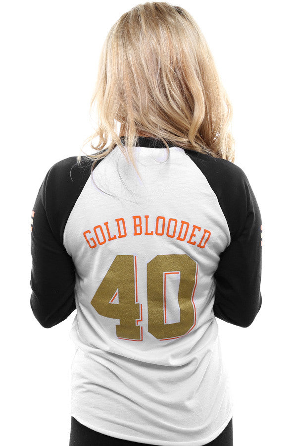 Gold Blooded Kings :: 40 (Women's White/Black Raglan Tee)