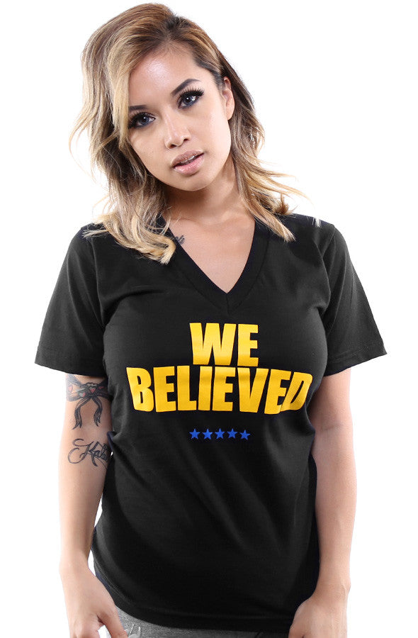 We Believed (Women's Black V-Neck)