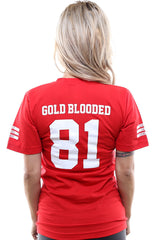 Gold Blooded Legends :: 81 (Women's Red V-Neck)