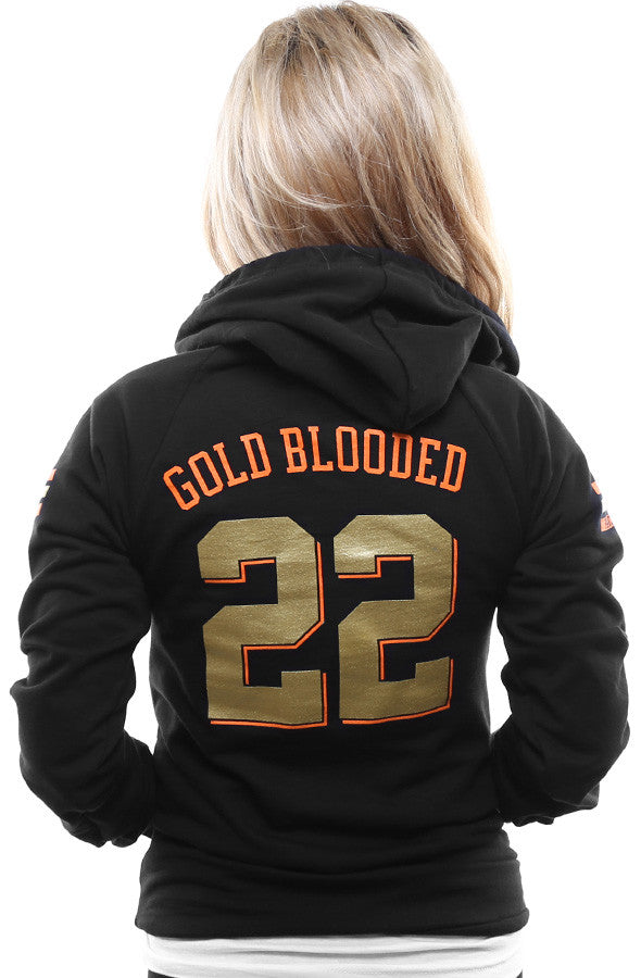 Gold Blooded Kings :: 22 (Women's Black Hoody)