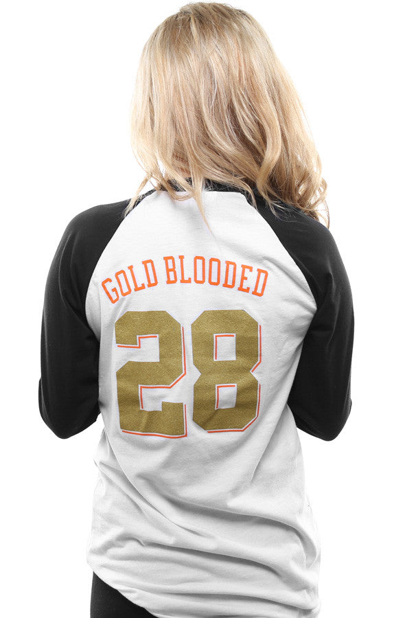 Gold Blooded Kings :: 28 (Women's White/Black Raglan Tee)